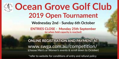 Ocean Grove Golf Club Open 2019
